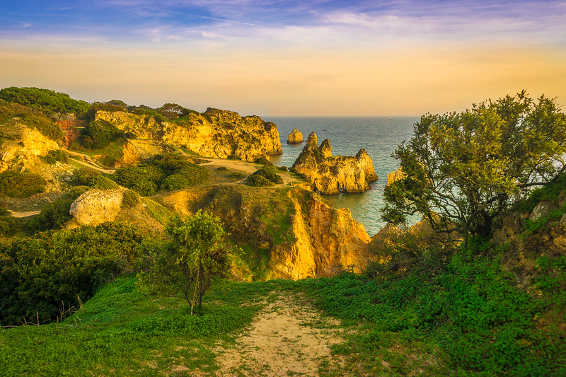 Algarve Golden Cliffs Pathway Photography By Messagez com