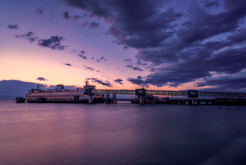 Sunset over the Edmonds Ferry, Edmonds, Washington