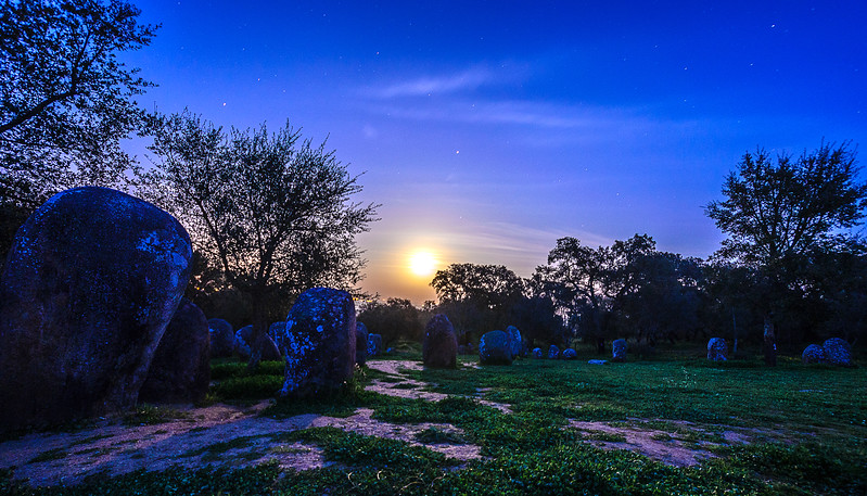 Portugal Cromlech of the Almendres Megalithic Complex Night Photography 10 By Messagez com