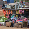 Fruit and vegetable vendors along the road to Amboseli National Park, Kenya, East Africa
