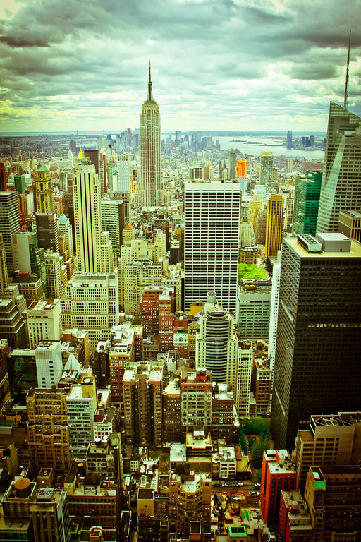 New York City, NY: The Empire State Building in Manhattan from the Top of the Rockefeller.