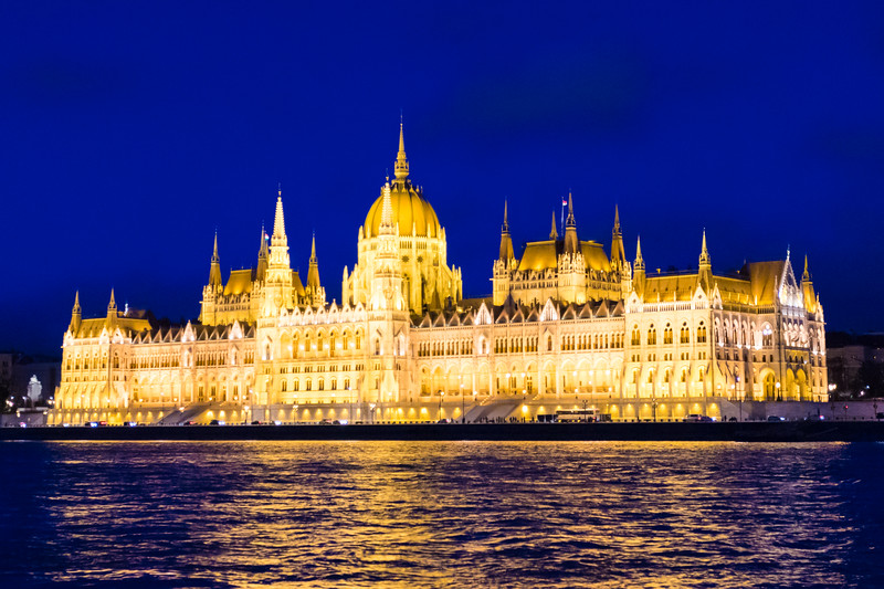 Hungarian Parliament in Budapest just after sunset.