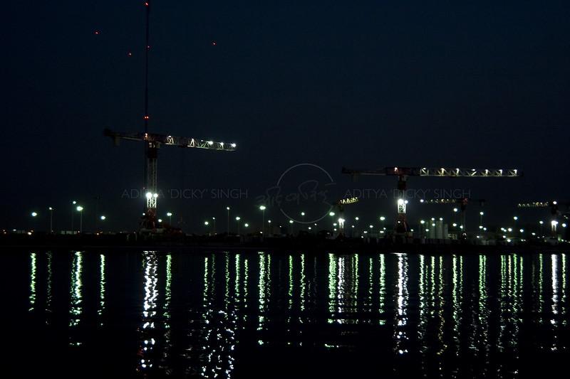 Ajman port in the night in United Arab Enirates