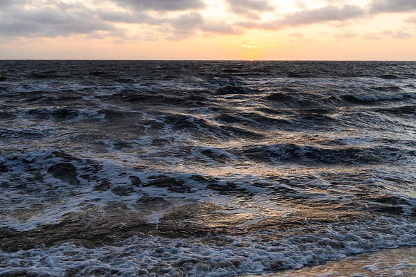 Sunset over a windy Limfjord in Jutland, Denmark.