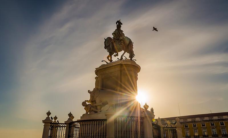 Lisbon Commerce Square Statue Sunshine By Messagez.com