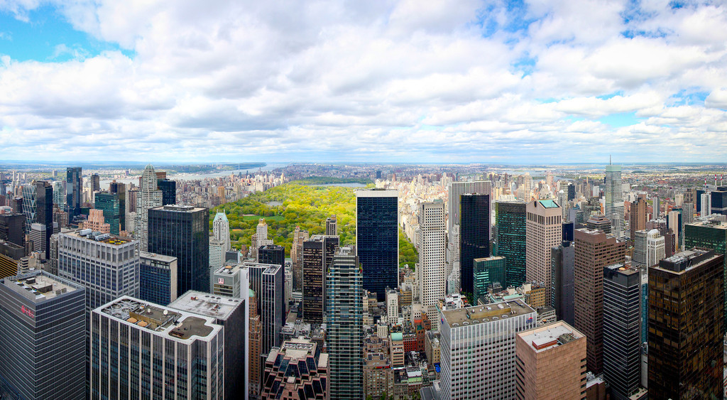 New York City, NY: Central Park in Manhattan from the Top of the Rockefeller.
