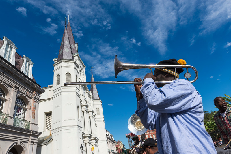 Musicians playing outside St Louis Cathedtral, Jackson Square, New Orleans.