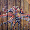 Painting of an octopus on a fence in Old Town, Bandon, Oregon