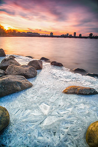 Ice formations along the Charles River in Boston