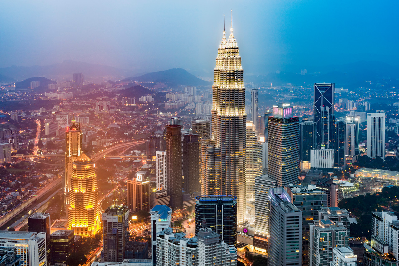 Kuala Lumpur city with the landmark Petronas Twin Towers in the foreground