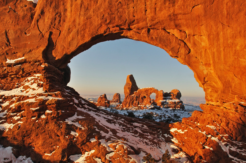 A cold winter morning in Arches National Park, Utah