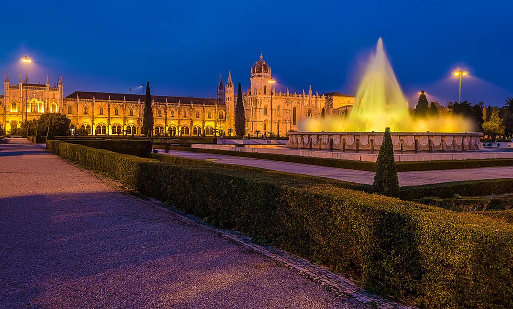 Lisbon Geronimos Fountain Blue Hour Fine Art Photography By Messagez com