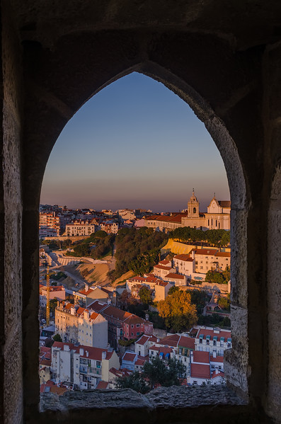 Lisbon Castle Window at Sunset