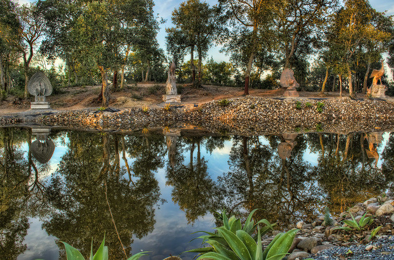 Buddha Garden Small Lake By Messagez.com