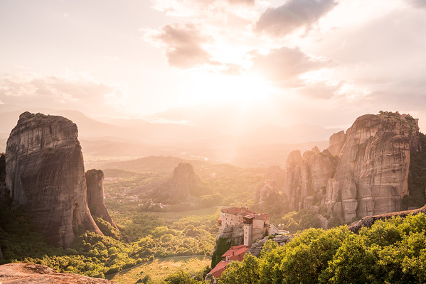 Beautiful light over Meteora, Greece.