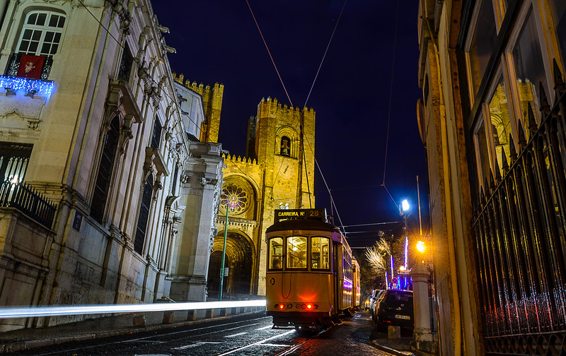 Lisbon Tram at Night Photography By Messagez com