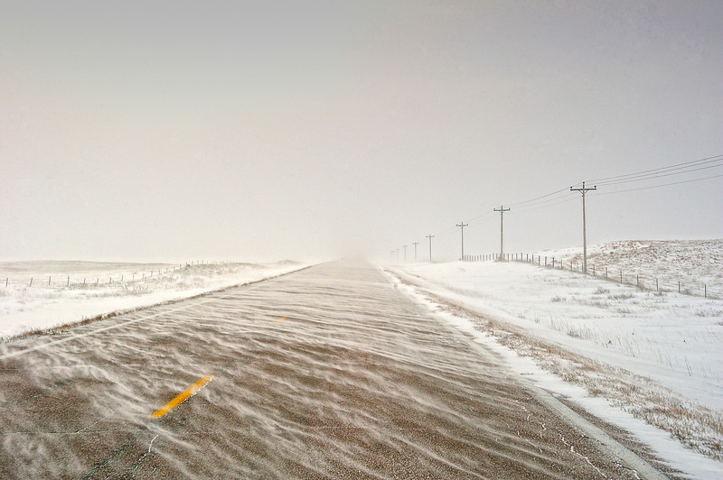 Kilgore Road to St. Francis, South Dakota during a snowstorm
