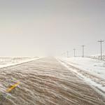 Kilgore Road to St. Francis, South Dakota during a snowstorm