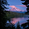 Late sunset light hitting Mt. Hood at Lost Lake, Mt. Hood National Forest, Cascade Mountains, Oregon