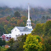 Church steeple in the rain in Stow, Vermont