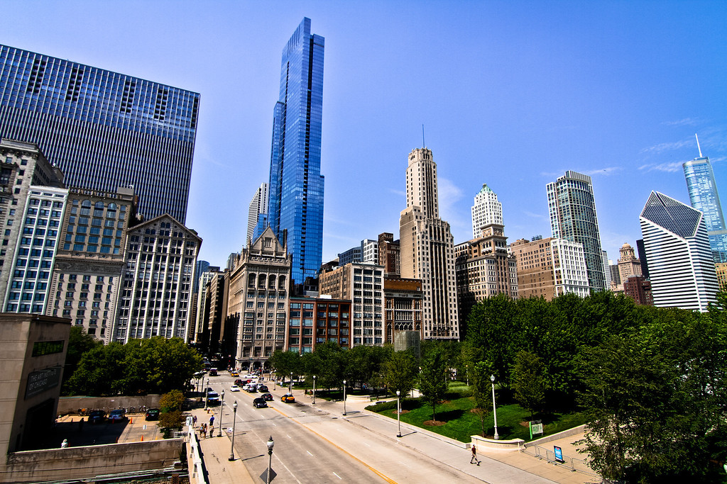 Chicago, IL: Skyscrapers near Millennium Park.