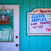 Seafood specials sign in Old Town Bandon, South Oregon