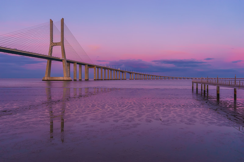 Pink Lisbon Bridge Photography By Messagez com