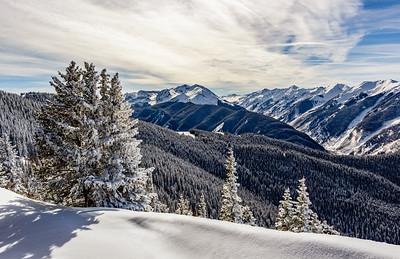 Aspen Highlands snow capped mountain vista