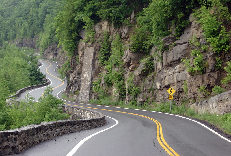 Curvy Road along the Delaware River in Barryville, Pennsylvania