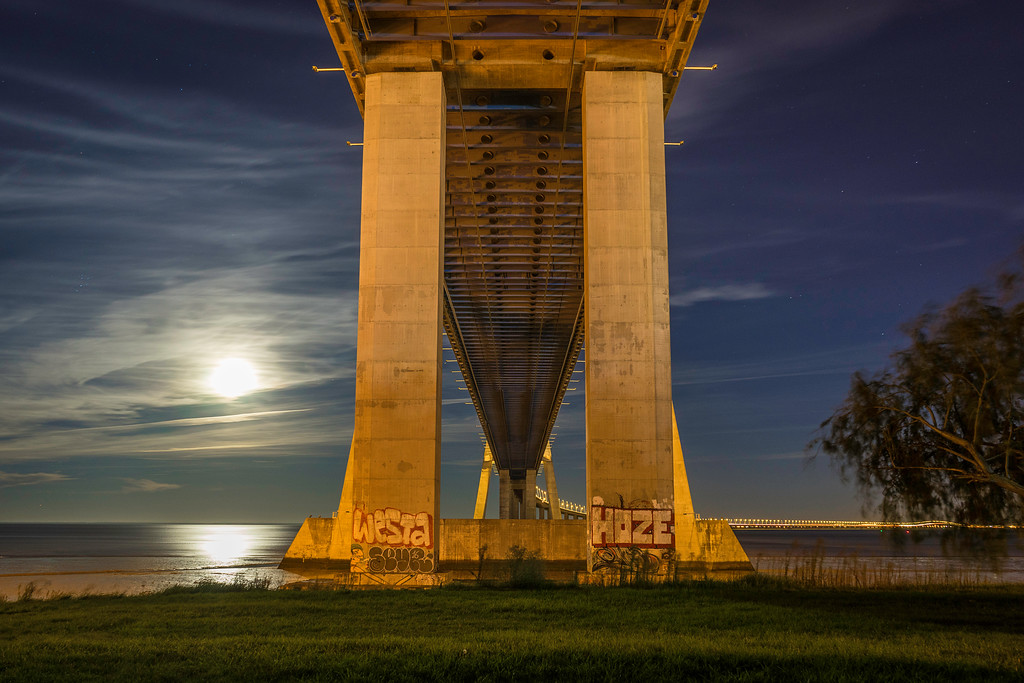 Under Vasco da Gama Bridge Super Moon Photography 2 By Messagez com