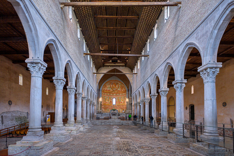 Wide angle view of Fourth Century floor mosaic in the Basilica of Aquileia, Italy