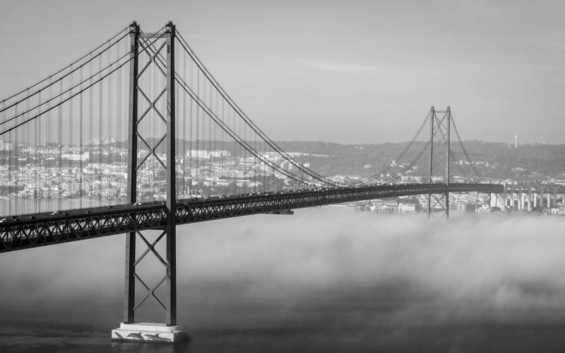 Original Lisbon 25th of April Bridge Landscape Photography BW 2 By Messagez com