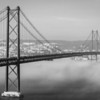 Original Lisbon 25th of April Bridge Landscape Photography BW 2 By Messagez com