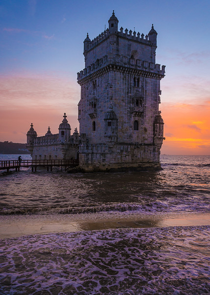 Original Lisbon Tower Sunset Waves Photography By Messagez com