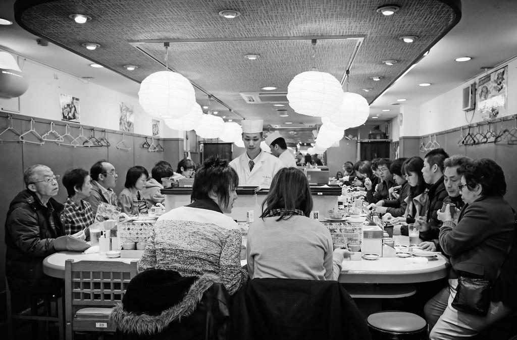 Sushi-go-round, Fish Market, Tokyo, Japan.