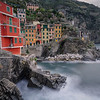 Long exposure of sea and clouds in Riomaggiore, Cinque Terre, Italy