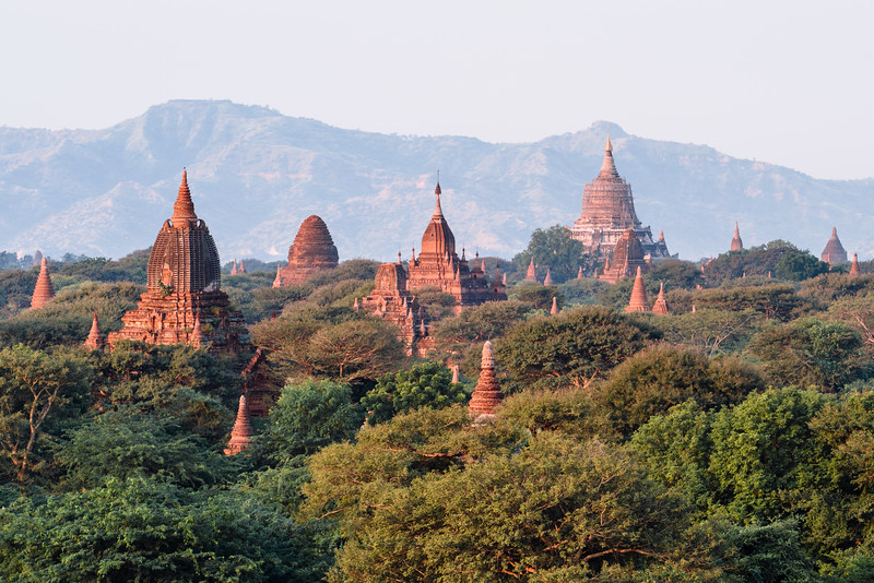 Layers of temples and stupas in Bagan, Myanmar.