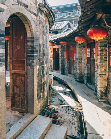 The inside of a tolou building in southeastern Fujian province, China.
