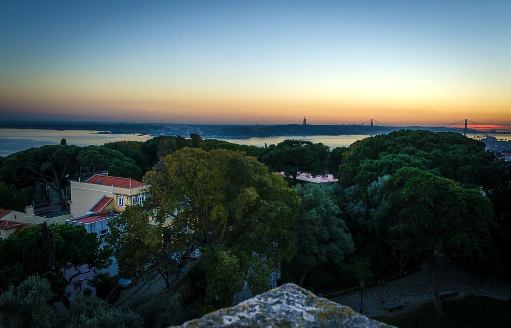Original Portugal Lisbon Castle Viewpoint at Sunset Photography By Messagez com