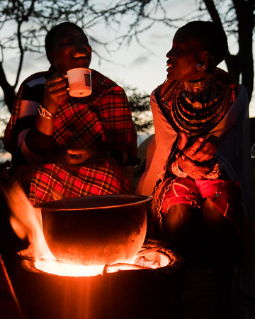 Chai tea and conversations at sunset with the Maasai.