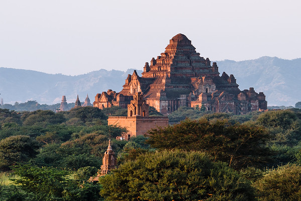 A morning scene from Bagan, Myanmar, where thousands of temples and stupas dot the horizon.
