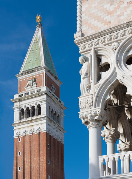 Campanile (Bell Tower of St Mark's Church) with the Palazzo Ducale (Doge's Palace) in Venice