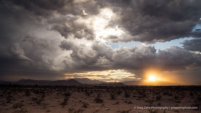 Storm clouds over the Nevada desert.
