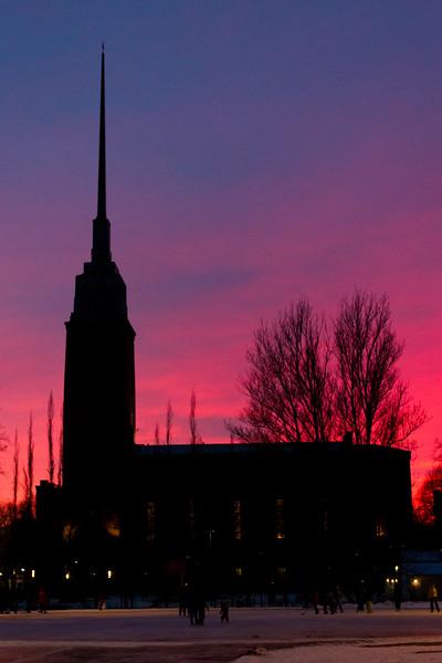 Johanneksenkirkko with a firey sunset.