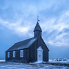 Blue hour at the Nineteenth century black church at Budir, Snaefellsnes Peninsula, Iceland