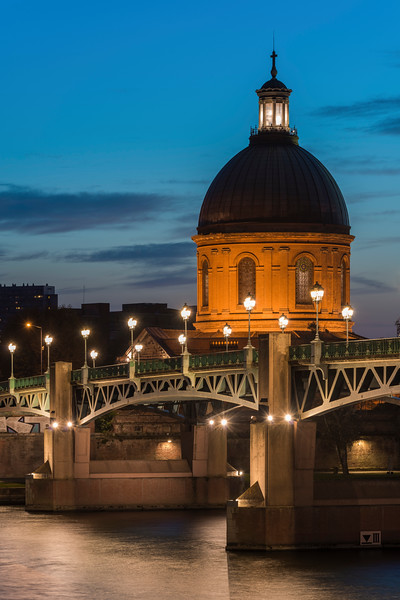 The Dome of the Hopital de la Grave overlooking St Pierre bridge, Toulouse.