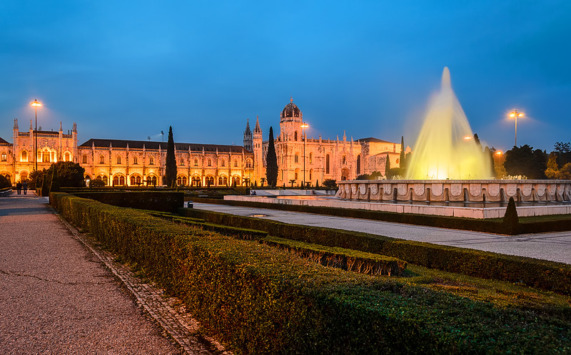 Lisbon Geronimos Fountain Blue Hour Fine Art Photography 2 By Messagez com