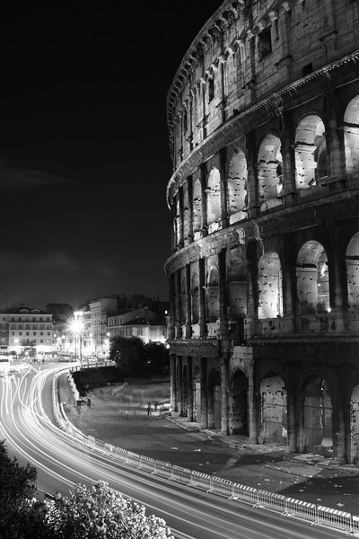 Rome, Italy: The Coliseum at night.