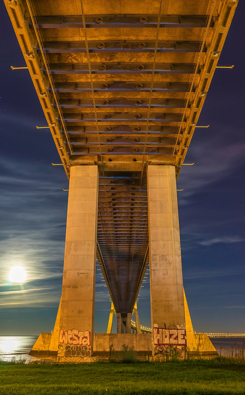 Under Vasco da Gama Bridge Super Moon Photography By Messagez com