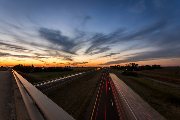 Sunset over rural Jasper County, Indiana.